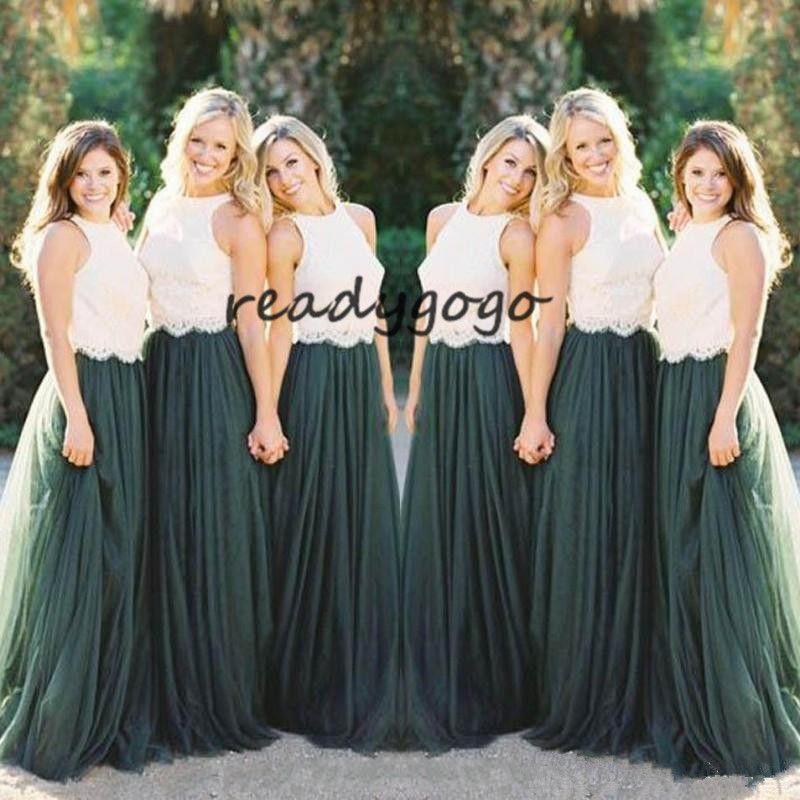 두 톤 국가 긴 신부 들러리 드레스 2019 보석 목 헌터 그린 레이스 얇은 명예 보헤미안 주니어 하녀의 명예 웨딩 게스트 가운