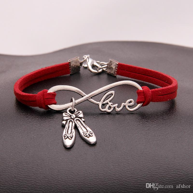 Drop Shipping Unique Gift for Infinity Love Dance Shoes Charm Bracelets & Bangles Punk Red Leather Bracelets For Women Men Pulseira Jewelry