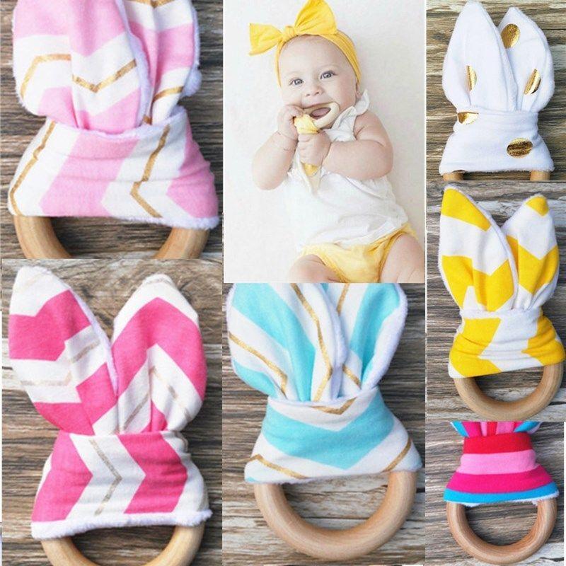 안전 나무 자연 아기 젖니 링 츄이 귀여운 Teether 토끼 감각 장난감