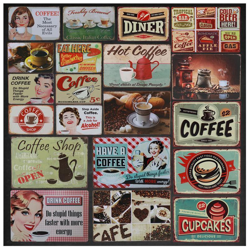 Vintage café de la bebida barra de metal de la placa del cartel Pub Cafe decoración de la pared de la lata etiqueta retro sesión Tintín Señales Arte Pintura 8x12 pulgadas
