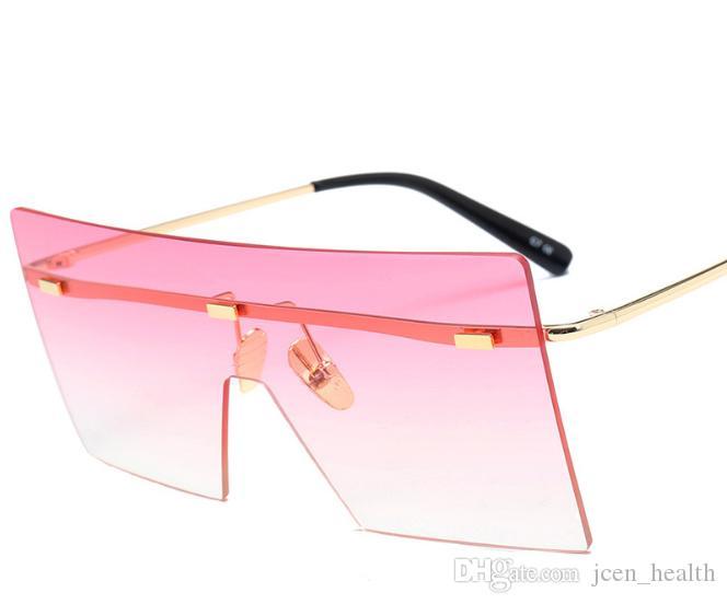 19 gafas de sol gafas de vanguardia retro-tendencia gafas de sol hombre mujer rectángulo gafas de sol de colores cuadrados gafas sin marco integrado adumdant