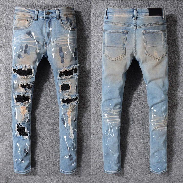 Mens Designer Distressed Ripped Biker Style Stretch Slim Fit Fashion Denim Jeans