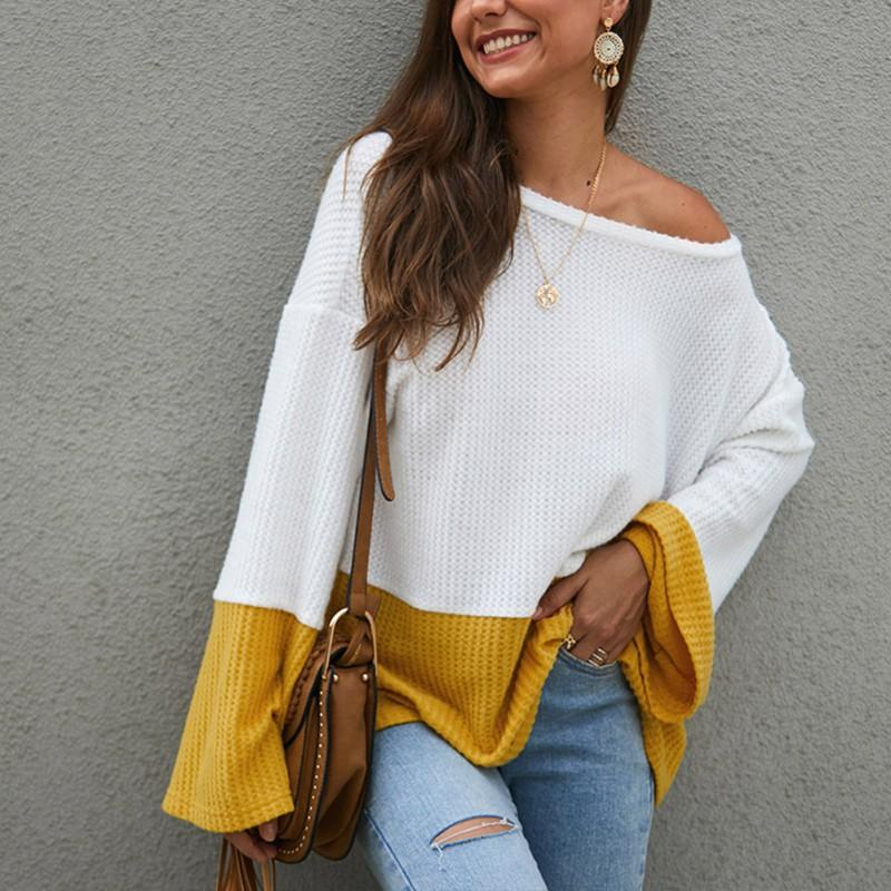 Women Sweater Color Matching O Neck Knitting Pullovers Tops Autumn Winter Female Sweaters Bell Long Sleeve Casual Loose Tops