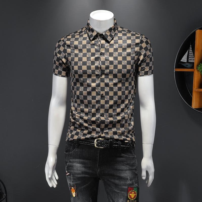 2020 летом плед печать с короткими рукавами рубашки мужской красивой мод случайные рубашка Тонкого диким светом приготовленной ветер отворот сверху