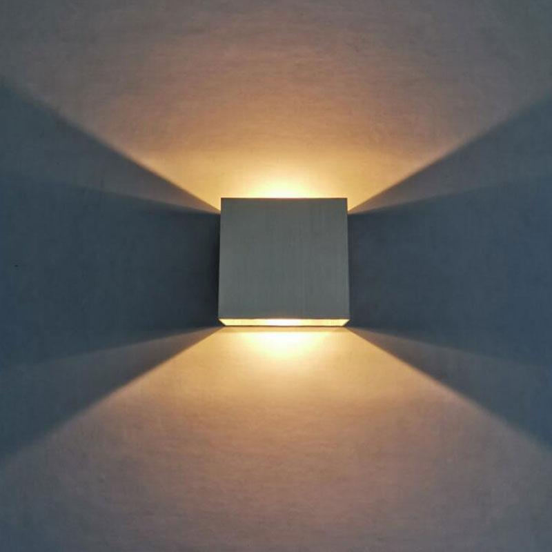 LED Aluminium Square Wall Light 6W Up Down Dimmable LED Wall Lamp Bedroom courtyard Porch sconce