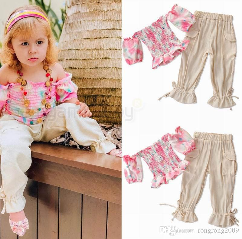 Floral de la niña sistemas del verano de la niña fuera del hombro apretado Top + Long Pants dulces 2PCS Trajes traje ropa de bebé 2-7Y E94146