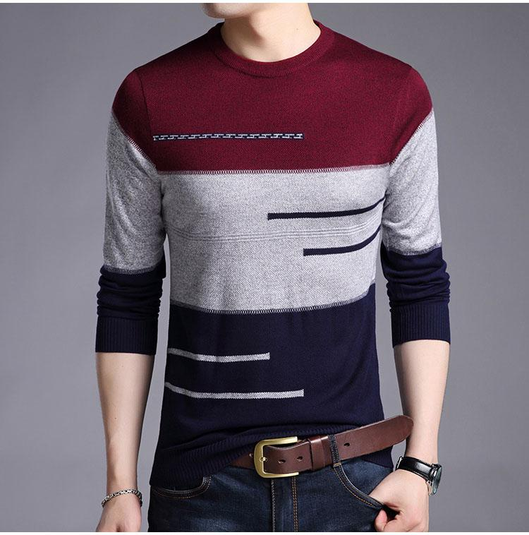 Homme Pull Homme Pull rayé en tricot Jersey Hommes Vêtements Tricot Sueter Hombre Camisa Masculina 100