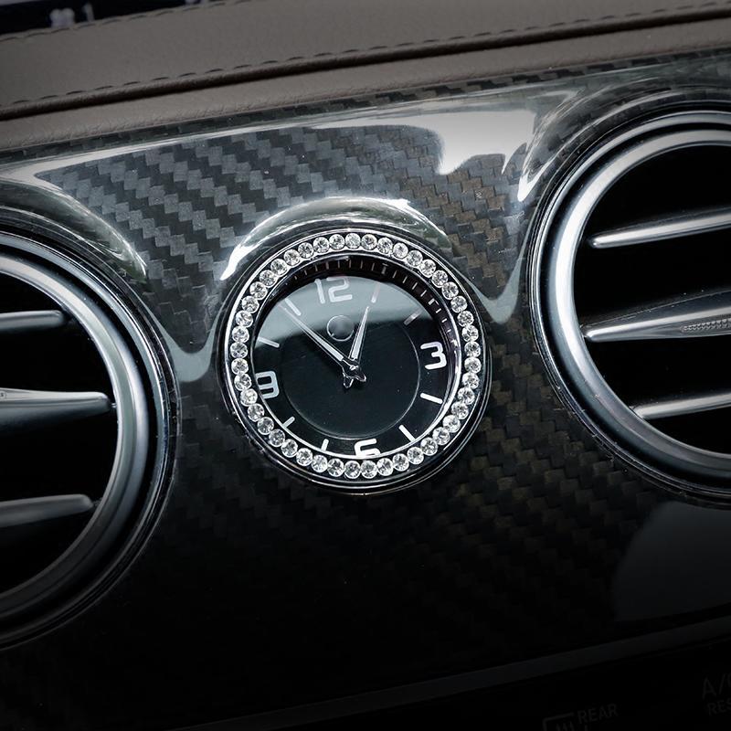 자동차 스타일링 중앙 제어 시계 시계 라인 석 링 커버 트림 메르세데스 벤츠 C E S 클래스 GLC W205 W213 W222 X253 자동차 액세서리를
