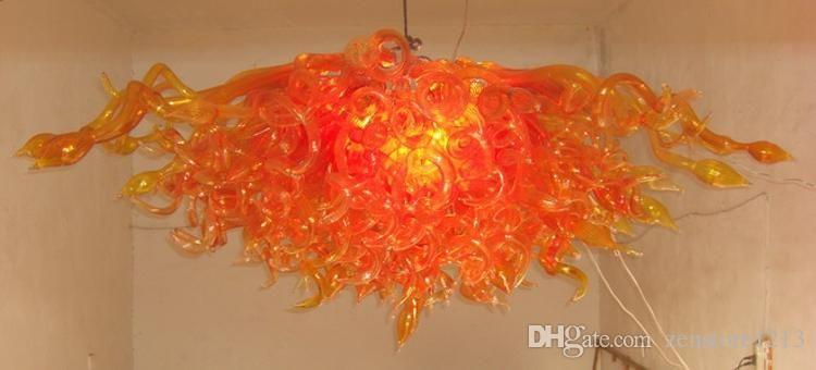 100% Handmade Dmuchanie Murano Szkło Szkło Sztuki Żyrandol Żarówki LED Energia Oszczędzanie Orange Murano Szkło Nowoczesna sztuka Zaprojektowany Żyrandol do wystroju sufitowego