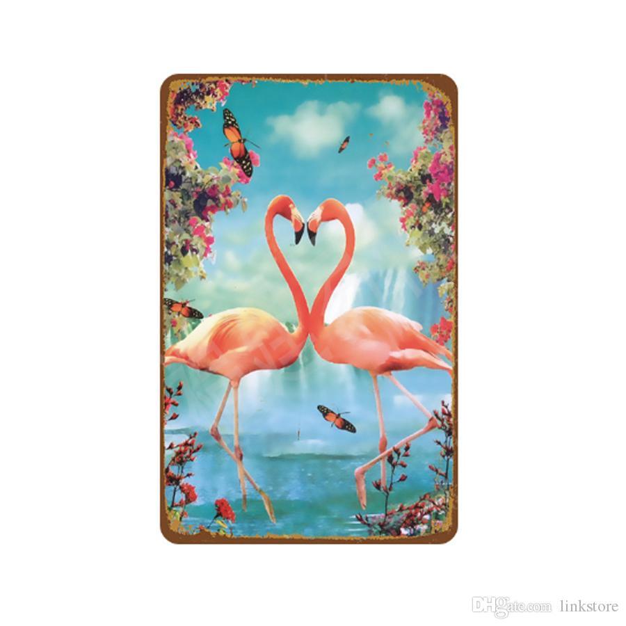 33 Styles Flamingo & Flowers Vintage Home Decor Tin Sign Bar Pub Decorative Metal Sign Retro Metal Plate Painting Metal Plaque 20*30cm