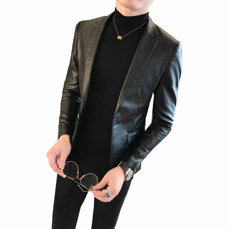 2020 homens novo estilo de um botão PU Blazer Men Slim Fit Blazer Masculino Preto Mens Para Hombre Vintage Prom Blazers Para