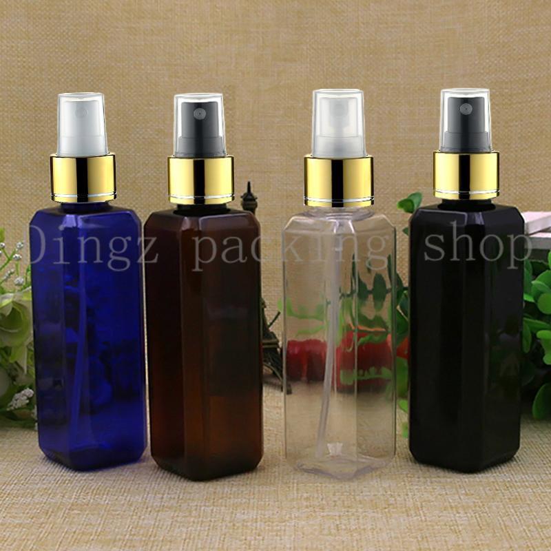 50pcs 100 ml Kunststoff-Goldkragen Sprühflasche nachfüllbare Duftstoff-PET-Flaschen aus Kunststoff Zerstäuber Spray schwarzes Quadrat Flasche leer