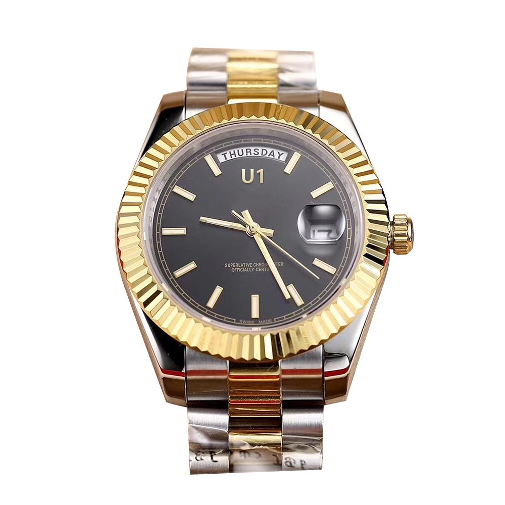 U1 Factory Two Tone Day Date 41MM Black Dial Big Date 218239 Automatic Mechanical Movement Sapphire Glass President Steel Mens Wristwatches