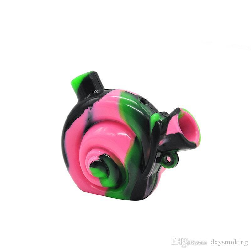 Forme Snail Voyage silicone tuyau d'eau de qualité alimentaire pipe cigarette silicone portable Blunt silicone barboteur eau Bongs