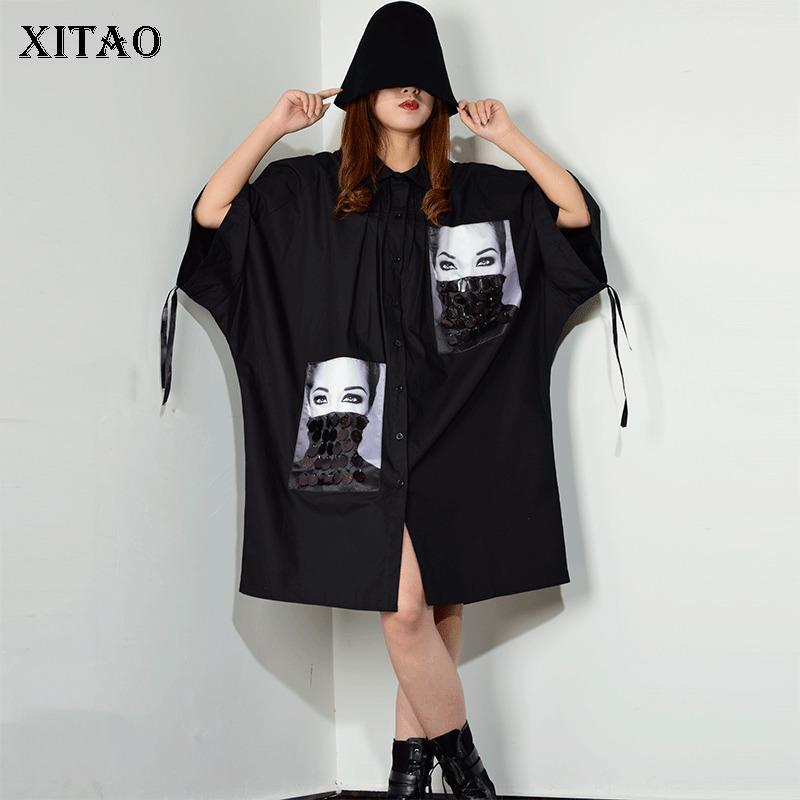 [Xitao] Sequined печати Pattern Плюс размер платья Женщины воротник отложной Patchwork однобортный женщин Одежда 2019 Новый XJ1509 MX200518