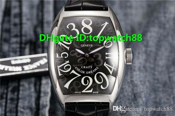 Верхние наручные часы ABF Swiss 2001 Автоматический корпус из нержавеющей стали Sapphire 316L Черный эмалевый циферблат Светящийся ремешок из телячьей кожи Ручка Твердый корпус Назад