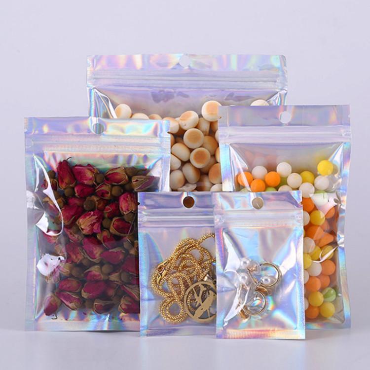 1000pcs olografico richiudibile traslucido Zip-Lock Mask Gifts singolo Gioielli imballaggio Bag Anelli Dress intima dell'ufficio Accessori Sacchetti