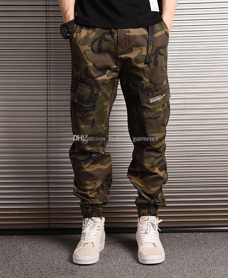 Nueva pantalones para hombre Pantalones Moda camuflaje Joggers mujeres de los hombres de la cremallera de los guardapolvos de los pantalones de la viga del pie Pantalones irregular jogging