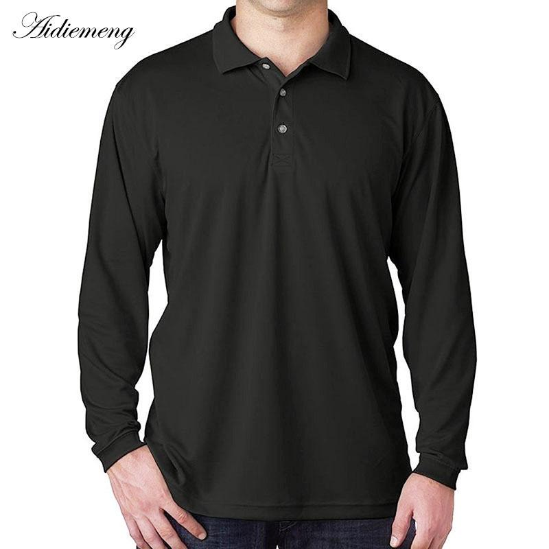 Long Sleeve Polo Shirts Men 2018 Autumn Band Men Polo Shirt Casual Cotton Black Camiseta Masculinas Plus Oversize Polos Homme