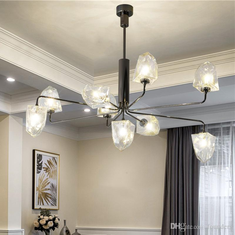 Modern LED Glass Chandelier Ice Cube Dining Room Kitchen Living Room Designer pendant Lighting Luminaire Plating Pearl Black