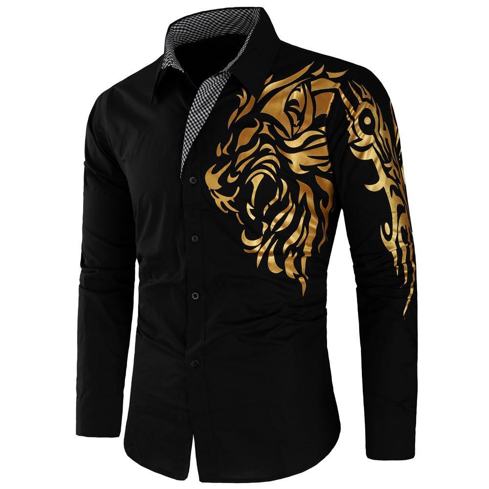 جديد وصول الرجال القميص القطن طويل الأكمام الأسد الذهبي مطبوعة خمسة ألوان واحدة اعتلى هاواي قميص قميص أوم