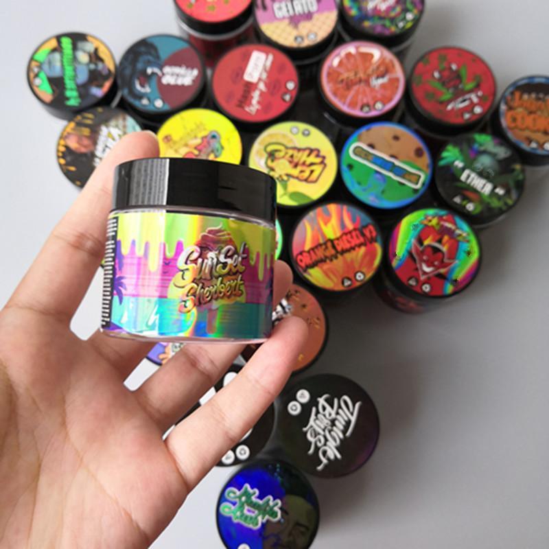 24 arômes Autocollant hologramme avec 3,5 grammes 60 ml de menthe mince fine biscuits de bocal en plastique réservoir de fleur de herbe sèche avec autocollants de saveur
