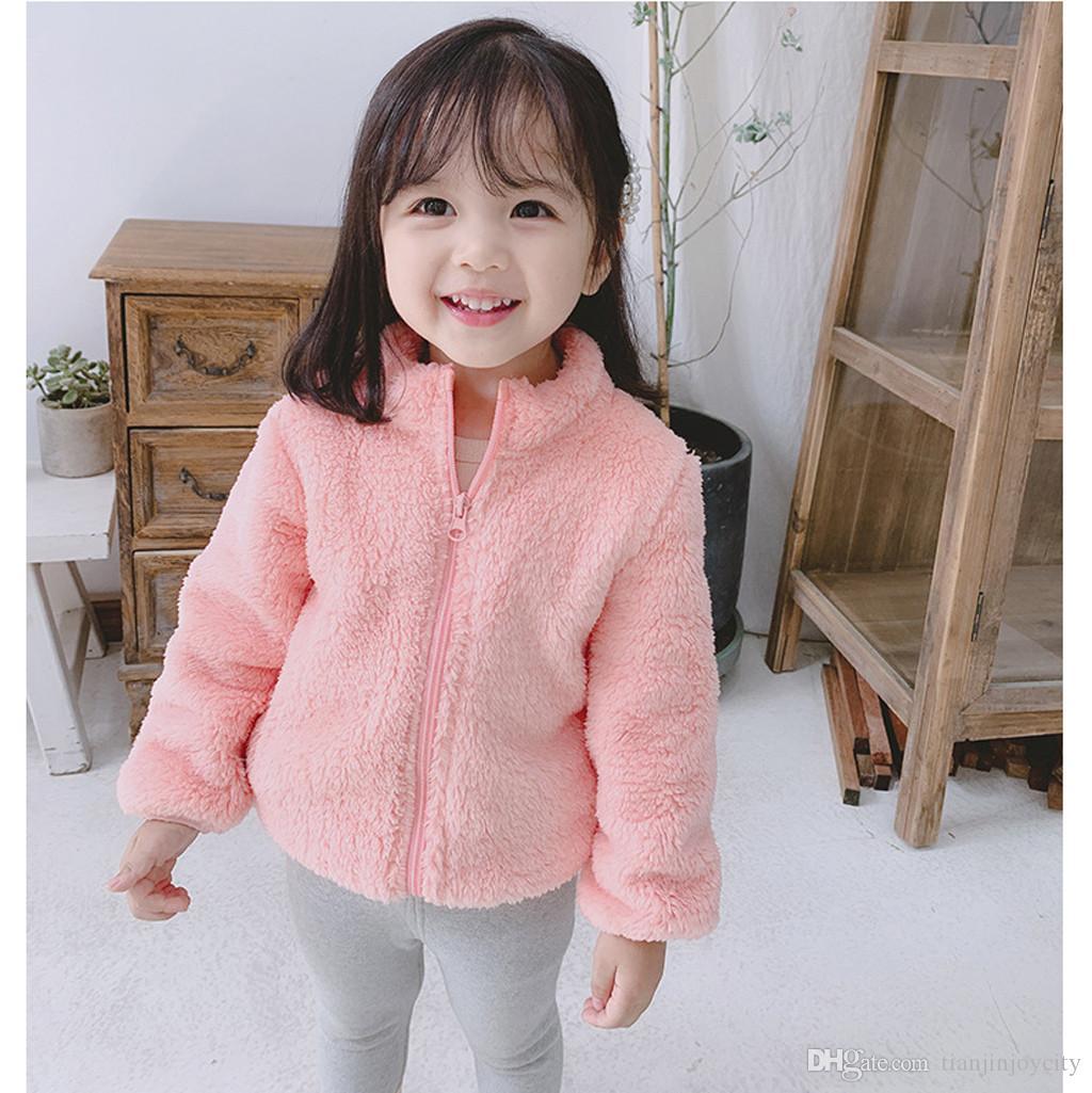 Kids Baby Girls Boys Plush Jacket Cute Zipper Solid Thick Hooded Coat Warm Outwear Jacket Long Sleeve Casual Coat