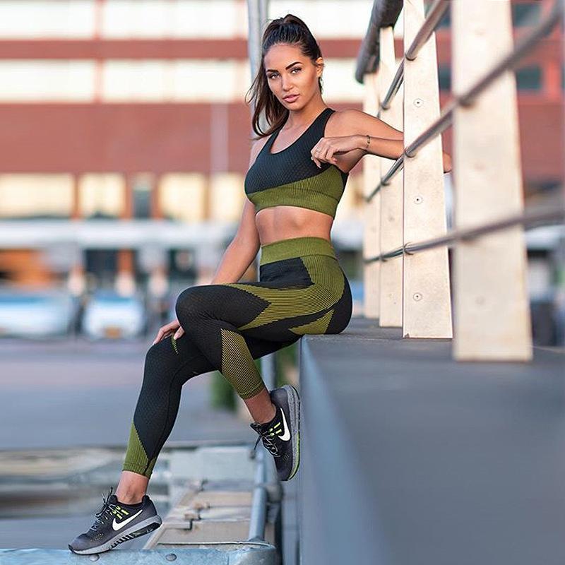 2020 Ins Frauen Muti Farbe 2 Stück Yoga Set Seamless Workwout Tank Top Hohe Unterstützung Fitness BH Dünne, lange Leggings