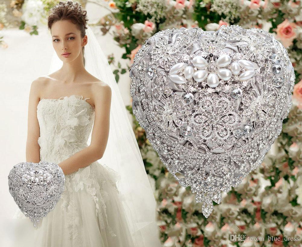 Luxury Crystal Satin Rose Bridal Wedding Bouquet Wedding