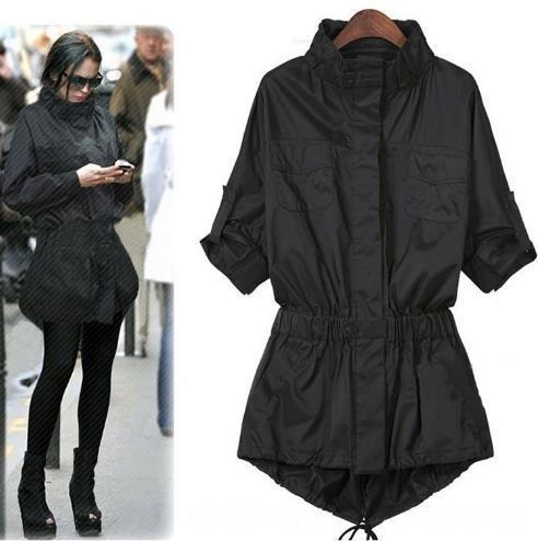 Manica lunga autunno signore di stile monopetto trincea lungo Slim nero Tasche Womens Outwear Trench Coat per abbigliamento esterno cappotti Wome di Donne