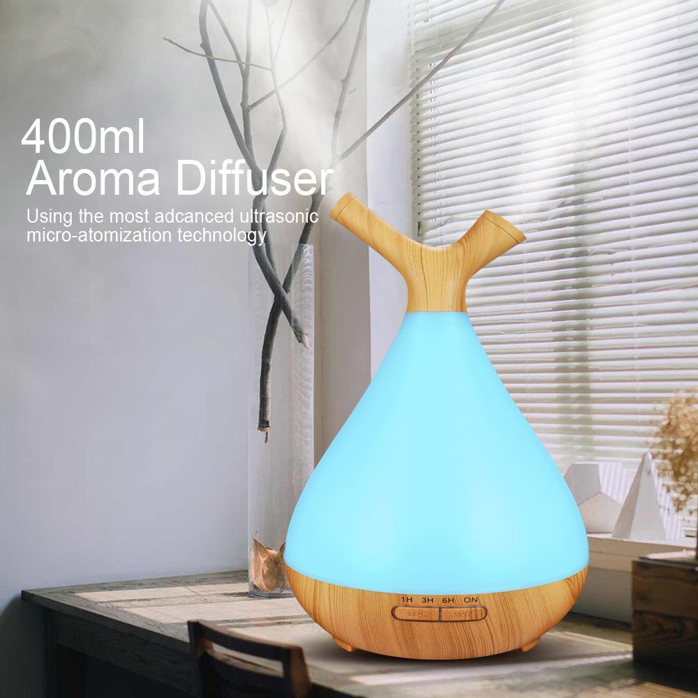 ليلة الخفيفة آلة الروائح الهواء المرطب الناشر الزيت العطري القدرة بالموجات فوق الصوتية مصباح الخشب العطر