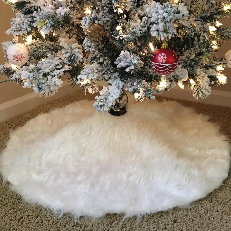 "78cm/30.7"" Christmas Tree Skirts White Luxury Faux Fur Tree Ornaments Plush Xmas Tree Skirt New Year Party Christmas Decoration JK1910"