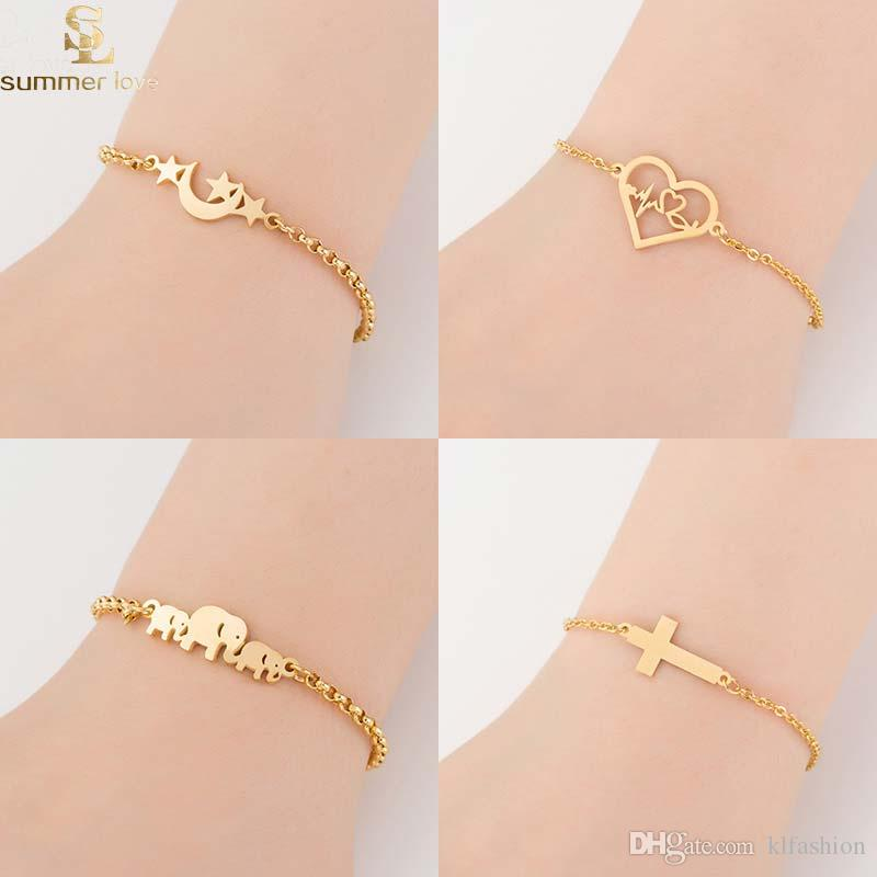 2019 acero inoxidable oro elefante corazones estrella pulsera de cadena para las mujeres encantadoras animales encanto pulsera moda joyería de la boda regalo