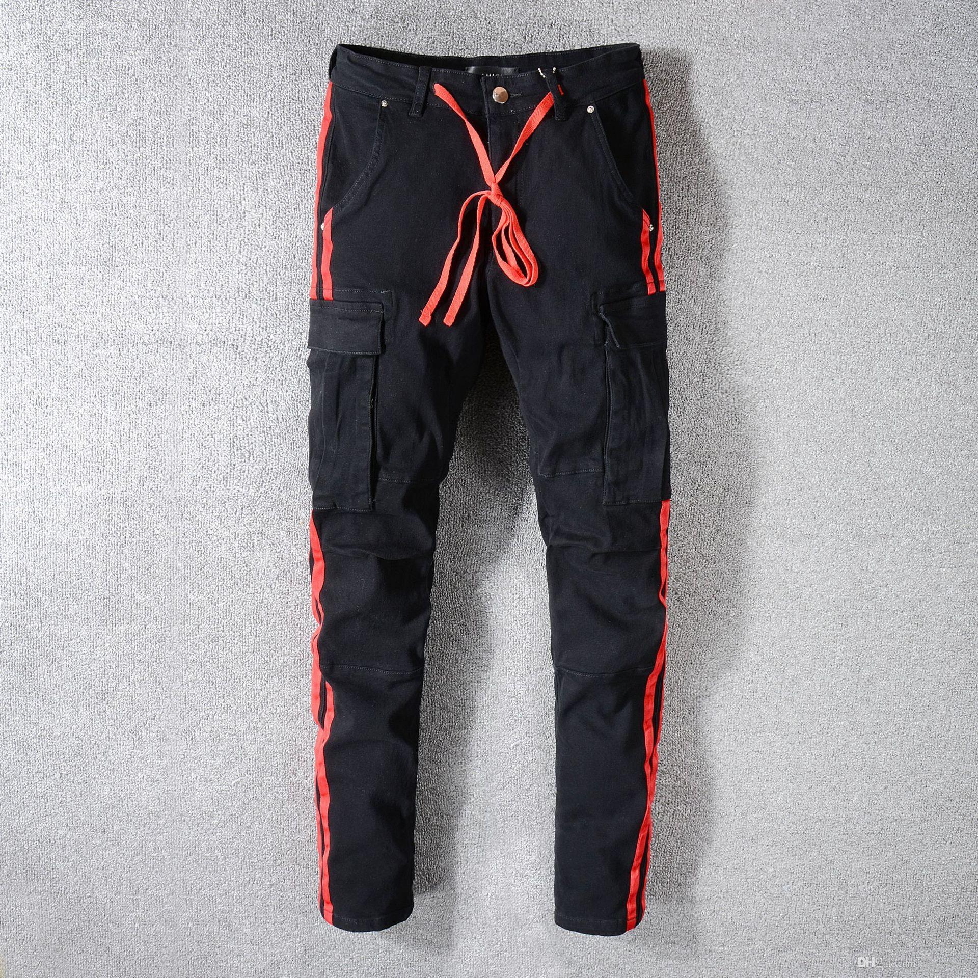 남자 블랙 청바지 슬림 바지 바지 패션 캐주얼 브랜드 지퍼 스트랩 대비 디자인 긴밀한 긴 청바지