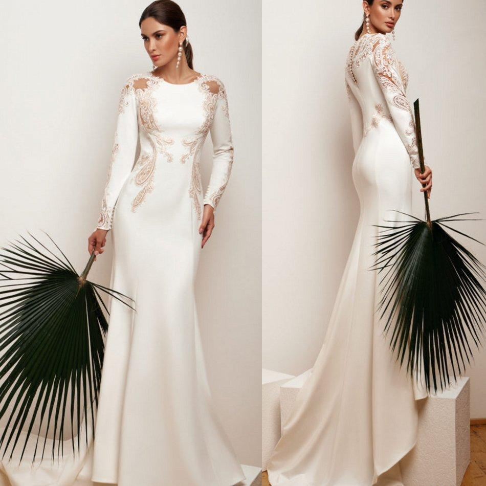 Sexy Cheap sirène robes de mariée en satin Jewel Neck Appliqued manches longues volantée balayage train robe de mariée Robe de mariée Robes De Novia