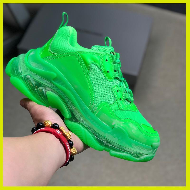 Diseñador de zapatillas de deporte, mujeres, hombres baratos París Crystal papá de fondo zapatos de lujo Triple S 17FW vendimia viejo abuelo Trainer todo verde