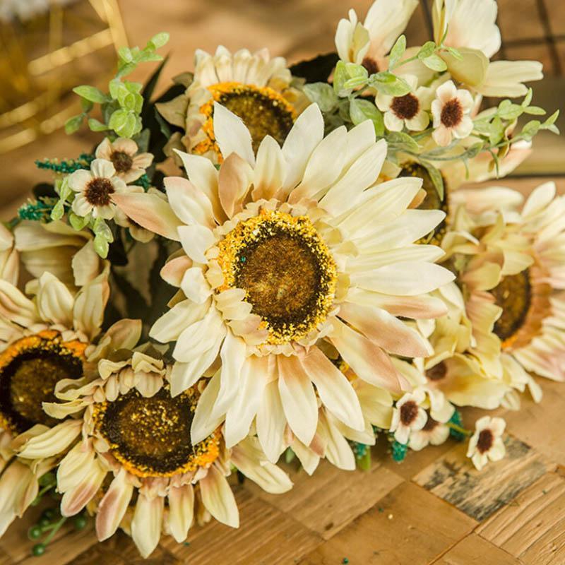 Bouquet de tournesol Big Fleurs artificielles soie simulation Real Touch Fleurs Faux pour Décoration de mariage jardin d'alimentation florale