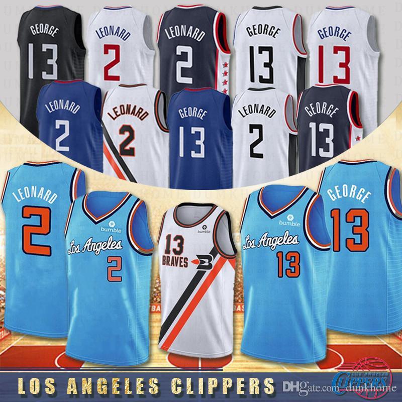 NCAA Los Angeles Clippers 13 Paul George 2 Kawhi Leonard Erkekler Koleji Basketbol Formalar Dikişli S-XXL Stokta 2020 Yeni Yüksek Kaliteli
