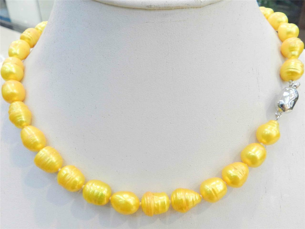 """NUEVA 10-12mm de color amarillo dorado NATURAL TAHITIAN PERLA 18"""" AAA"""