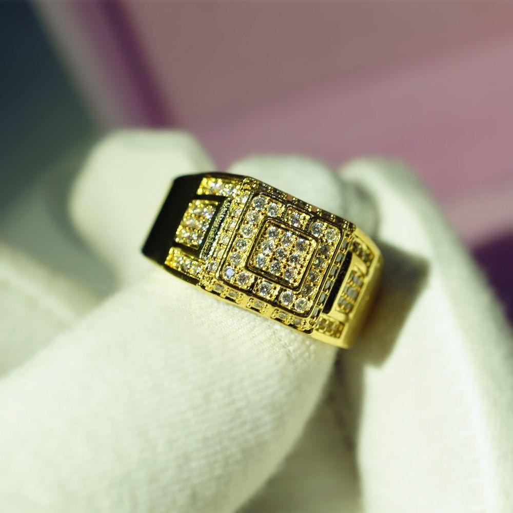 Tam Zirkon 14k altın ve Pırlanta Alyans Anillos De Takı Bague Veya Jaune Bizuteria Diamante Altın Yüzük 6 Temmuz 08-10 Erkekler J190707 İçin