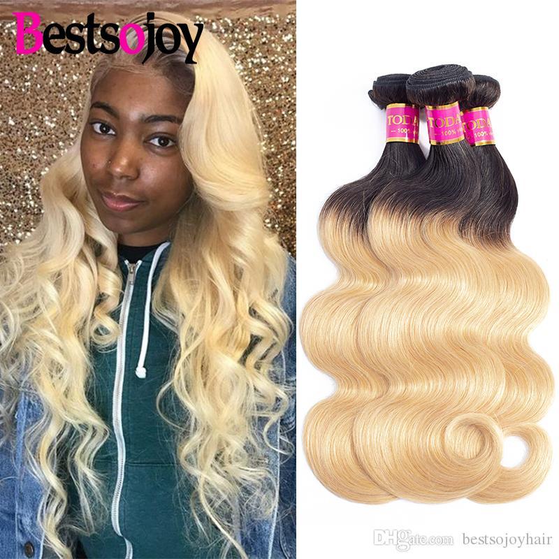 Bestsojoy T1b / 27 Ombre Körper-Wellen-3 Bundles 8 -26 Zoll Dunkle Wurzeln mit # 27 Körper-Wellen-Haar-Webart Malaysian Virgin Haar