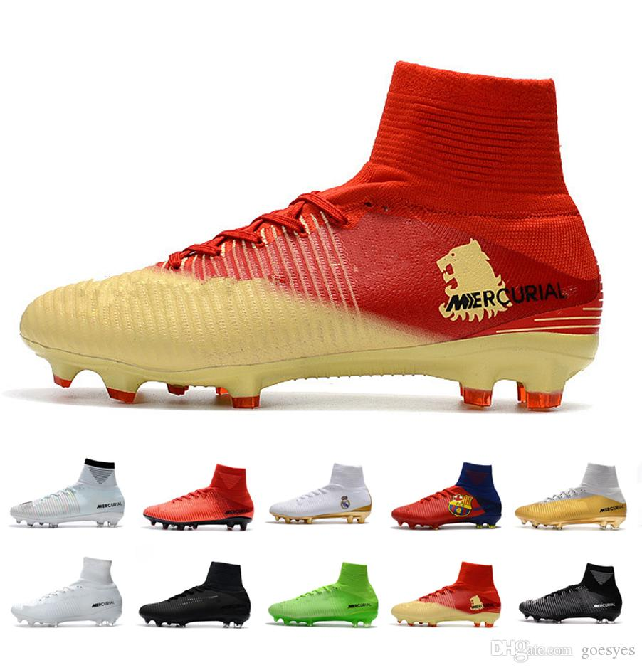 2019 Mens soccer shoes Crampons de CR7 kids football boots Cleats assassin Retro chaussures FG spikes AG Mercurial Ronaldo 3 Transactio