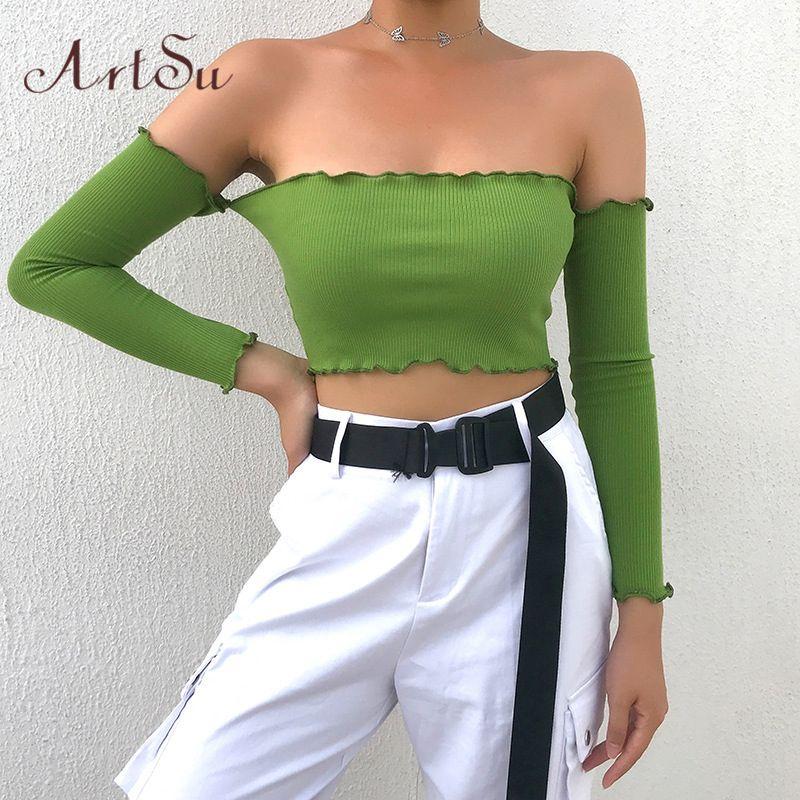 Crop ArtSu verde a maniche lunghe Womens magliette casual spalle Top nero bianco della maglietta di base sexy Tee Streetwear ASTS21116 T200525