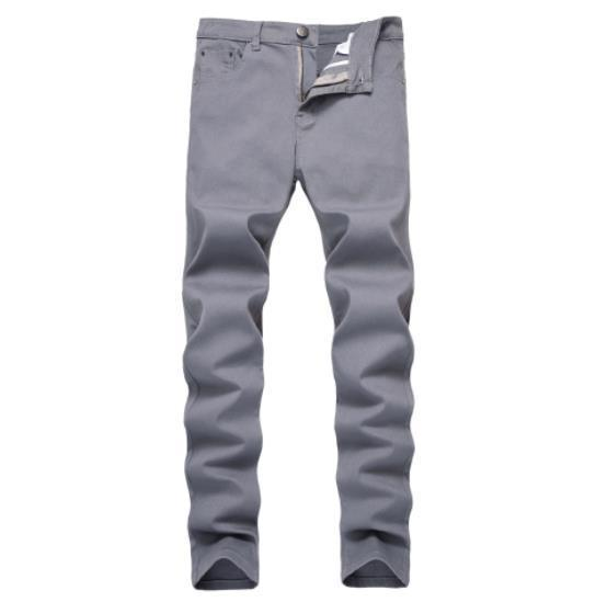 Mens jeans stretch dritto pantaloni casual pantaloni denim sottile in stile americano Zipper Mens decorativi jeans di moda