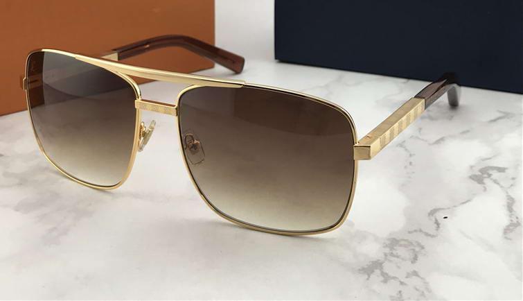 Box ile Erkek Tutum Kare Güneş Altın / Kahverengi Sonnenbrille Sürüş Güneş Gözlük Gözlük Açık Yaz Yeni