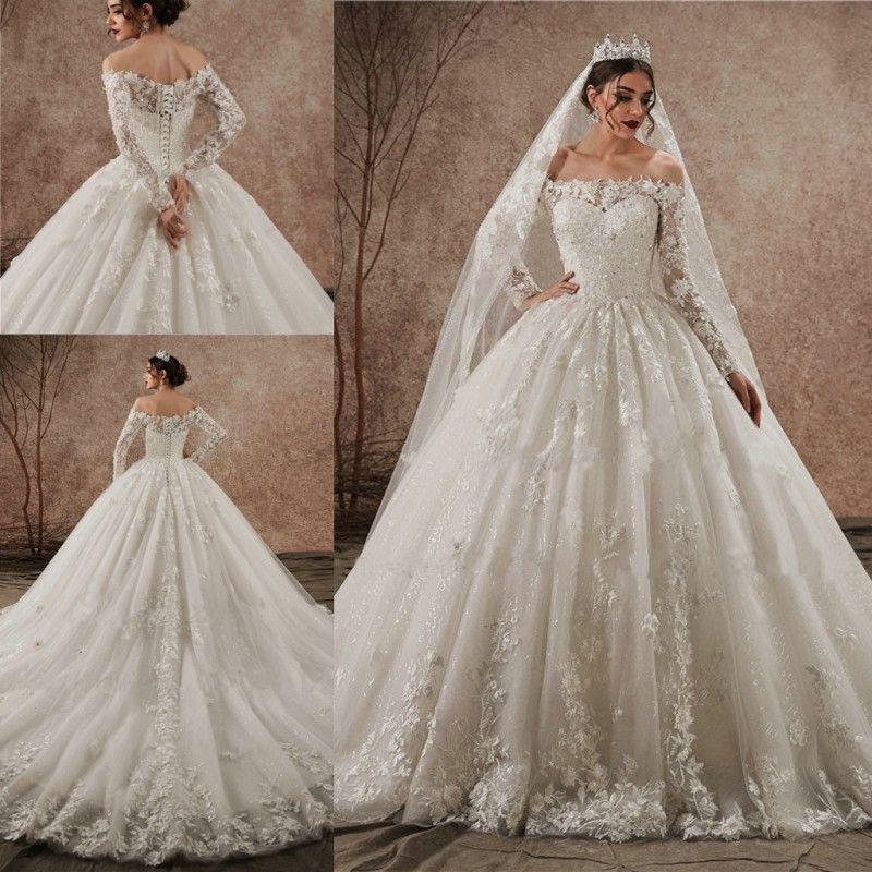 반짝이는 레이스 Applique 푹신한 웨딩 드레스 어깨 긴 소매 레이스 업 신부 가운 새로운 도착 서양
