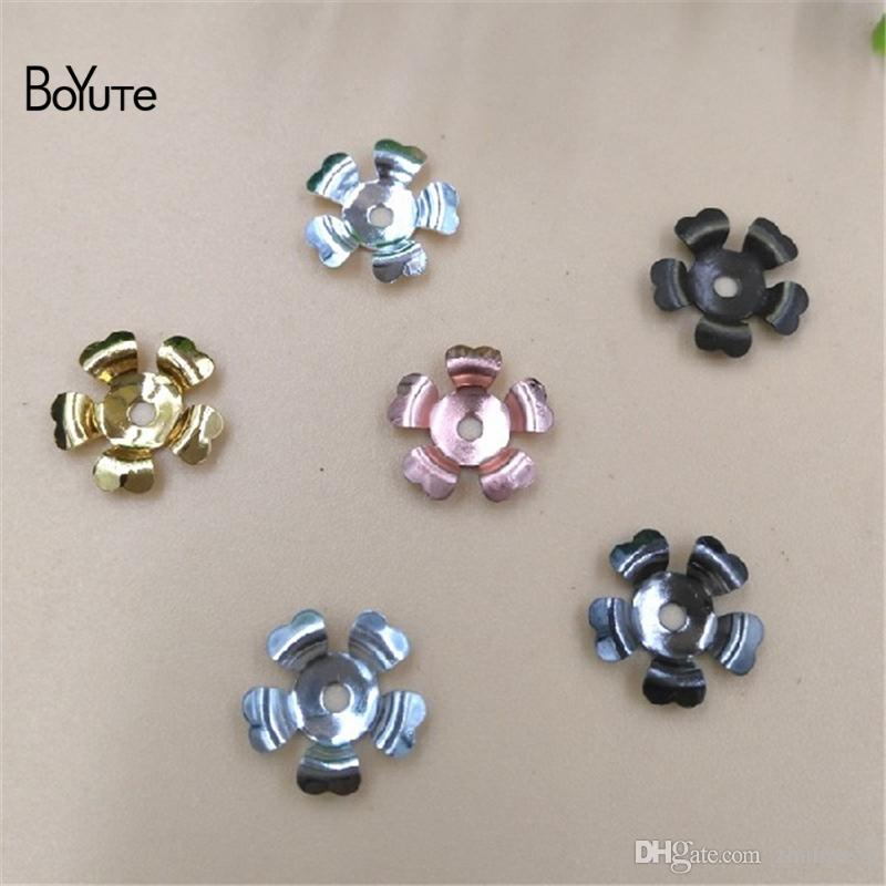 BoYuTe 200Pcs 3 Colors Brass Stamping 10MM Flower Bead Caps Diy Hand made Charms Jewelry Making Supplies