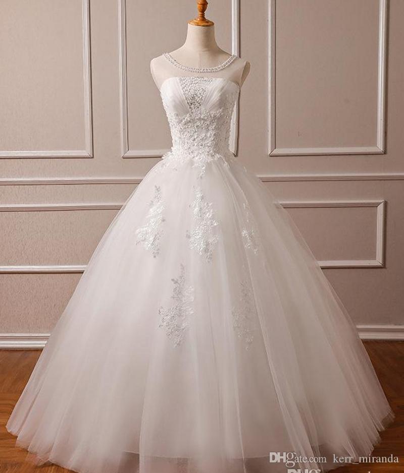 Original Photo Lace taille des robes Cheap Sale Sheer cou lacent Tulle long Vestido de Noiva Chine Robes de mariée DH4172