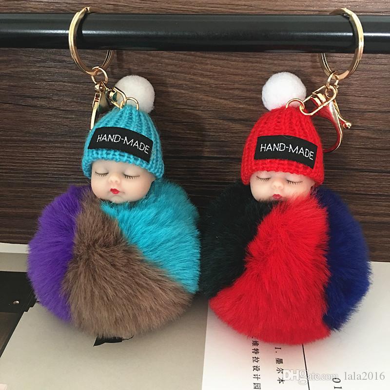 Новая мода Sleeping Baby Doll брелок Pompom Rabbit Fur Ball Key Chain автомобилей брелоков женщин держатель ключа сумка Висячие подвеска аксессуары