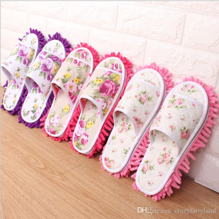 Lazy Cleaning Foot Cleaner Shoe Mop Slipper Microfiber Soft Wearable Bathroom Floor Dusting Cover Home Cleanning Tools 2 pcs/ lot 9 Styles
